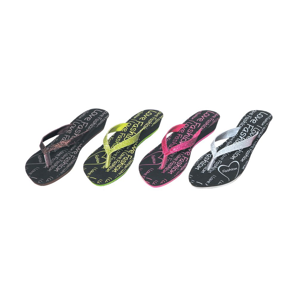 Wholesale Footwear Ladies Glitter Flip Flop Wedge Sandal