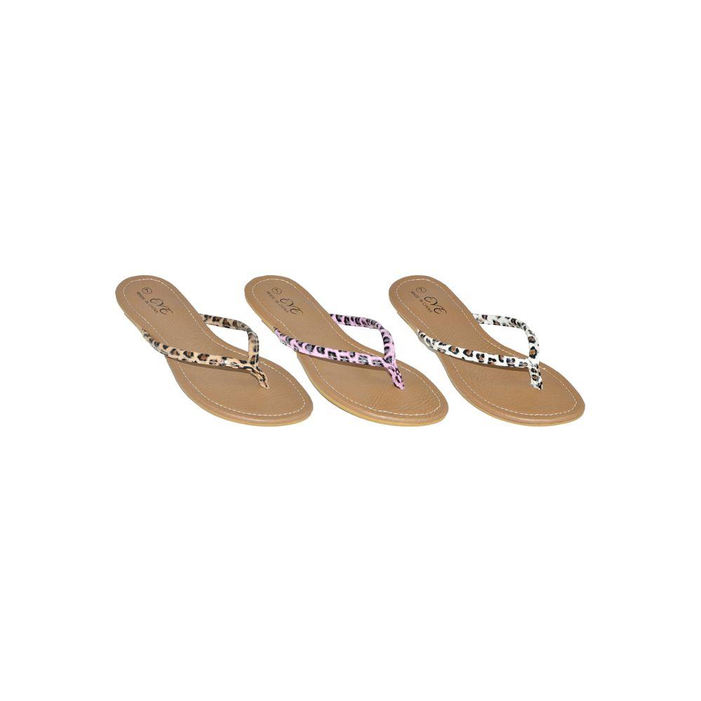 Wholesale Footwear Ladies Leopard Print Flip Flops