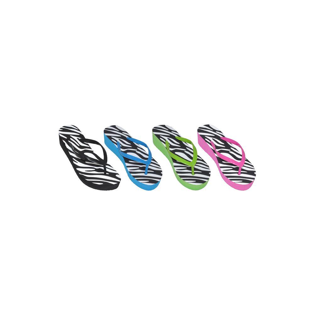 Wholesale Footwear Ladies Zebra Print Flip Flops