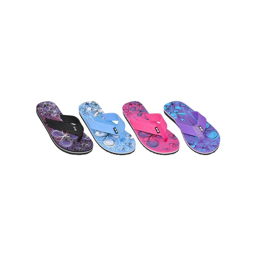 Wholesale Footwear Ladies Beach Flip Flops With Printed Footbed