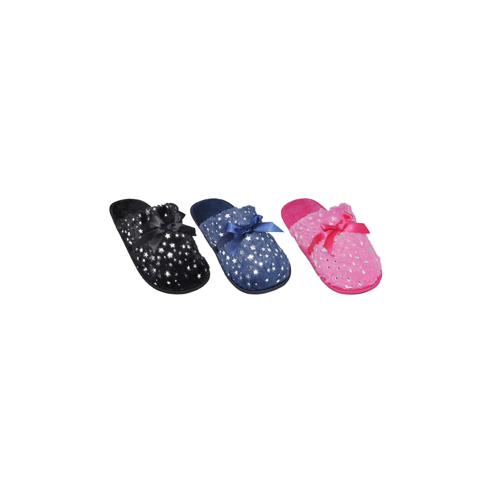 Wholesale Footwear Ladies Sparkle House Slippers With Bow