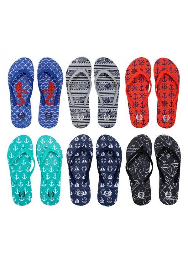 Wholesale Footwear Womens Printed Flip Flops