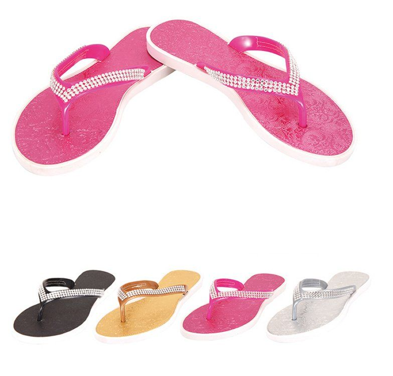 Wholesale Footwear Ladies Flip Flops--Rhinestones