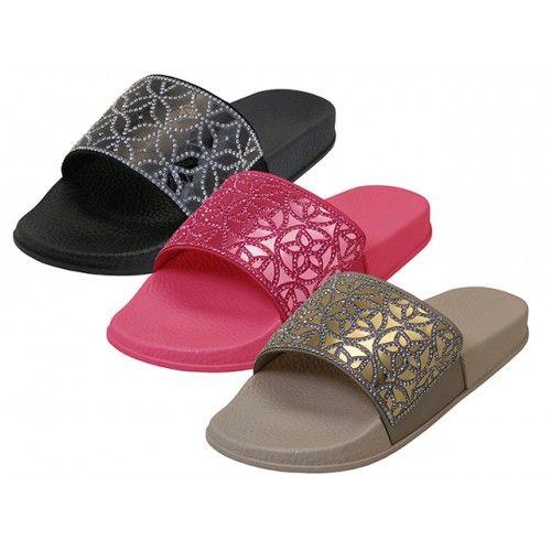Wholesale Footwear Women's Rhinestone Top Slide Sandals