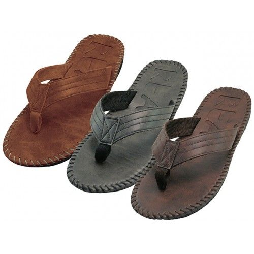 Wholesale Footwear Men's Side Stiches Emboss Thong Sandals