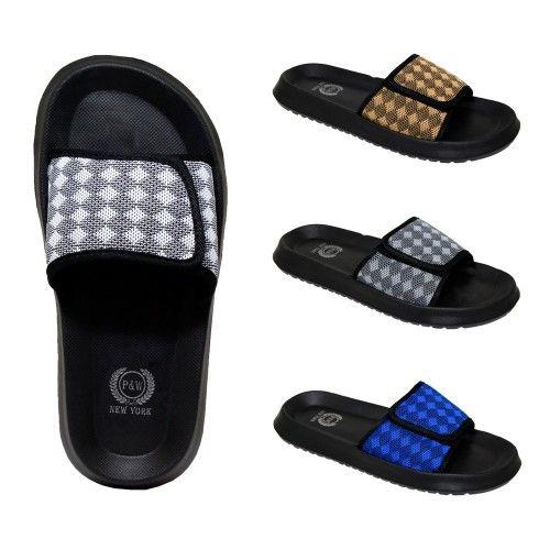 Wholesale Footwear Men's Velcro Slides Diamonds Assorted Colors