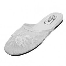 Wholesale Footwear Women's Mesh Upper With Sequin Comfort Slippers White Size 5-8
