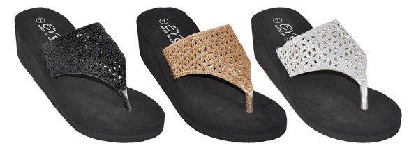 Wholesale Footwear Womens Assorted Color Flip Flop Wedge