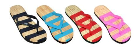 Wholesale Footwear Women's Assorted Stripe Color Flip Flop