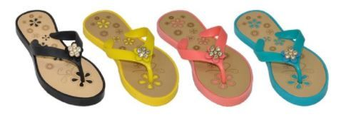 Wholesale Footwear Girls Assorted Color Flip Flop With Rhinestone Flower