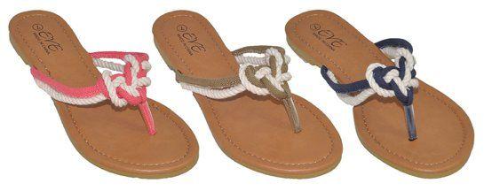 Wholesale Footwear WOMEN'S ASSORTED COLOR ROPE KNOT FLIP FLOPS