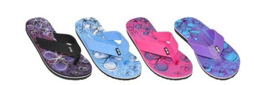 Wholesale Footwear WOMENS ASSORTED COLOR FLIP FLOPS BUTTERFLY