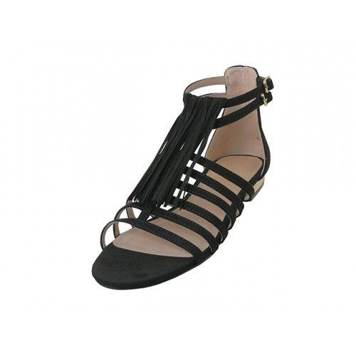 "Wholesale Footwear Women's ""mixx Shuz"" Gladiator With Tassel Flat Sandals ( *black Color )"
