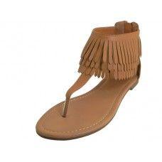 Wholesale Footwear Woman's Suede Thong Sandals With Tassel ( *beige Color )