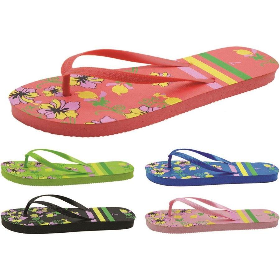 Wholesale Footwear Women's Flower Printed Flip Flops