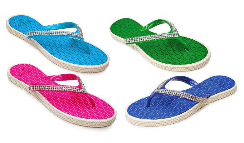 Wholesale Footwear Women's Sandals With/ Rhinestone Straps - Assorted Colors