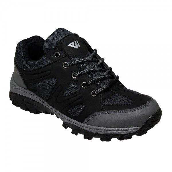 Wholesale Footwear Men's Lightweight Hiking Shoes in Black and Grey