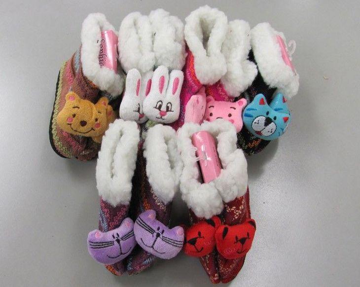 Wholesale Footwear Girls Animal Slipper Boots With Fur Cuff