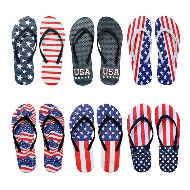 Wholesale Footwear Women's USA Patriotic Blue White Red Theme Flip Flop