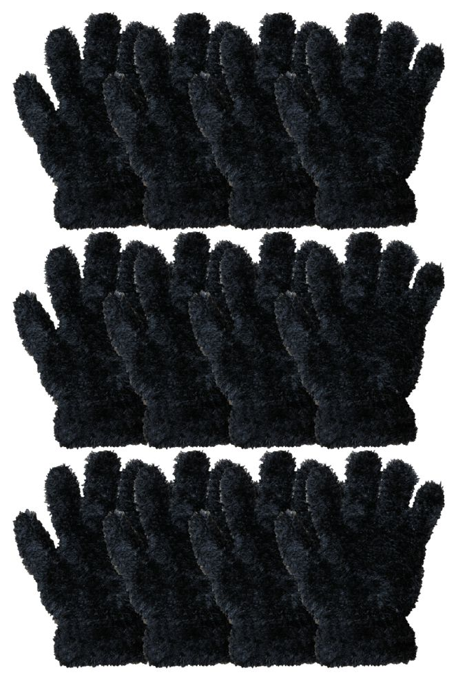Wholesale Footwear Kids Furry Gloves Solid Black , Warm And Fuzzy