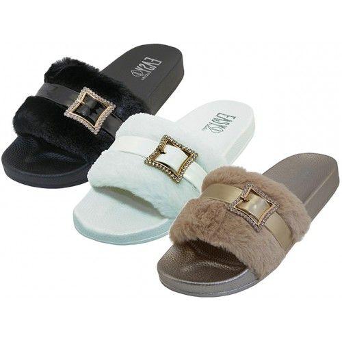 Wholesale Footwear Women's Faux Fur With Rhinestone Buckle Upper