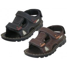 Wholesale Footwear Boy's Soft Man Made Leather Upper Velcro Sandals