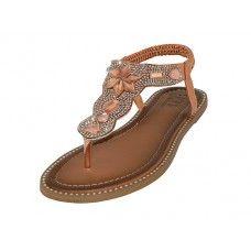 Wholesale Footwear Women's Rhinestone Upper Sandals (rose Gold Color )