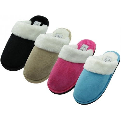 Wholesale Footwear Women's Velour Plush Scuff Upper With Faux Fur Cuff House Slippers