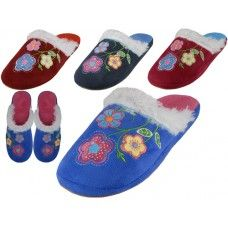 Wholesale Footwear Women's Satin Velour Floral Embroidery Upper Close Toe House Slippers