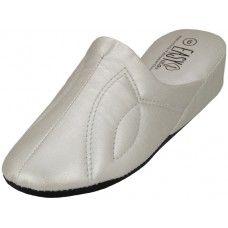 Wholesale Footwear Women's Close Toe Soft Silver Metallic Upper House Slippers