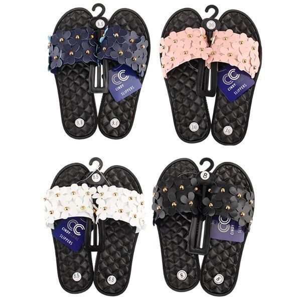 Wholesale Footwear Women's Floral Studded Summer Sandals Slip On Slides
