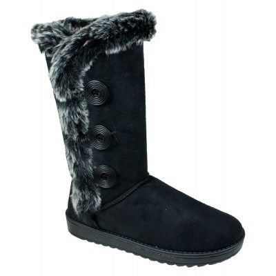Wholesale Footwear Womens Button Fleece Boot In Black