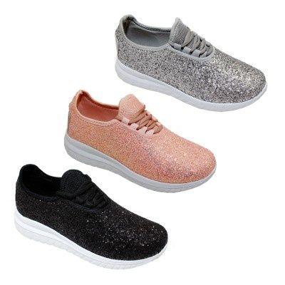 Wholesale Footwear Womens Glitter Lace Up Fashion Sneakers In Black