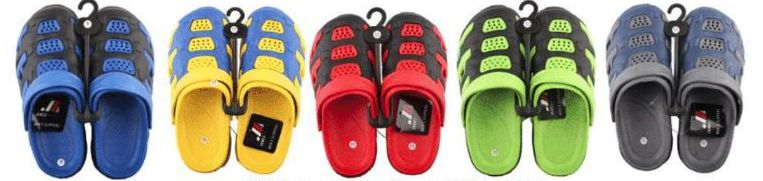 Wholesale Footwear Mens Garden Shoes Packed Assorted Colors And Sizes With Retail Hang Tag