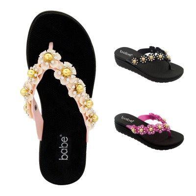 Wholesale Footwear Womens Heeled Floral Flip Flop
