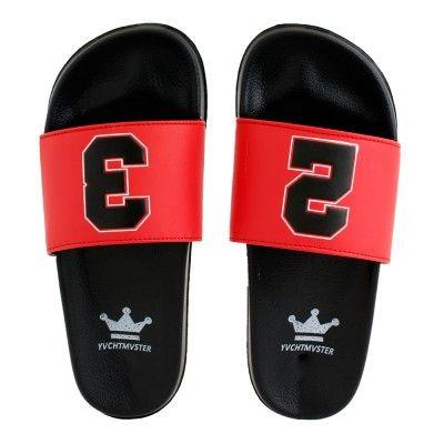 Wholesale Footwear Mens Black Red Slide