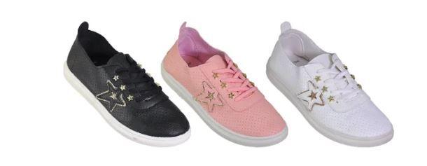 Wholesale Footwear Womans Flat Sneaker With Star Embellishment