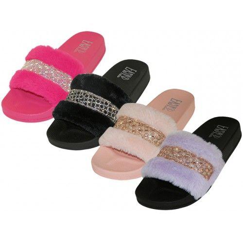 Wholesale Footwear Women's Faux Fur With Rhinestone Upper Open Toe Slides
