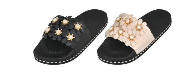 Wholesale Footwear Woman's Slides With Flower Embellishment