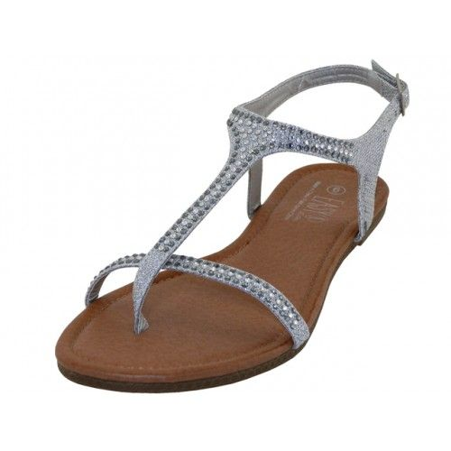 Wholesale Footwear Women's Rhinestone Thong Sandals (*silver Color )