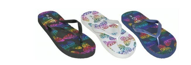 Wholesale Footwear Woman's Printed Butterfly Flip Flop