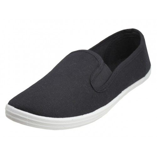 Wholesale Footwear Children's Slip On Twin Gore Canvas Shoes *Black Upper With White Sole ( *Black Color )