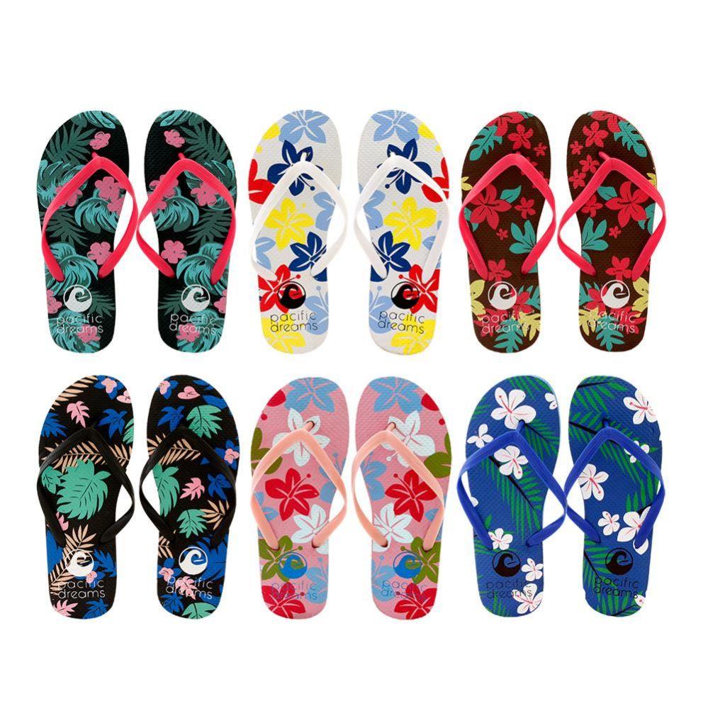 Wholesale Footwear Women's Floral Flip Flops