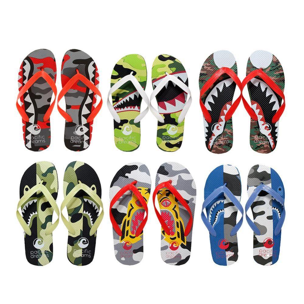 Wholesale Footwear Men's Printed Flip Flops
