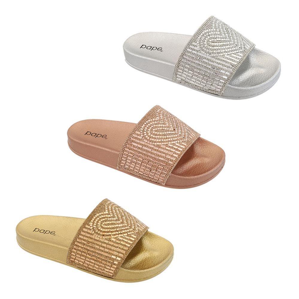Wholesale Footwear Women's Rhinestone Heart Slide