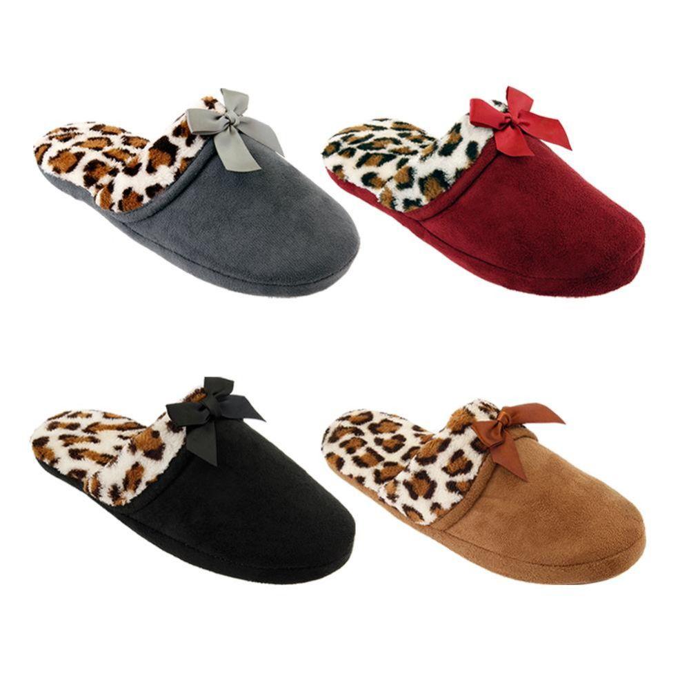 Wholesale Footwear WOMENS LEOPARD BOW SLIPPER