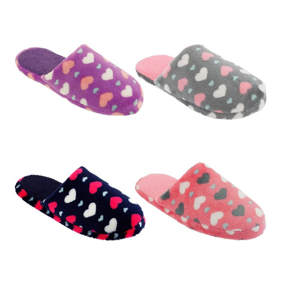 Wholesale Footwear Women's Hearts Design Winter Plush Slippers