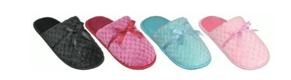 Wholesale Footwear Women's Warm Plush House Slippers With Bow Design