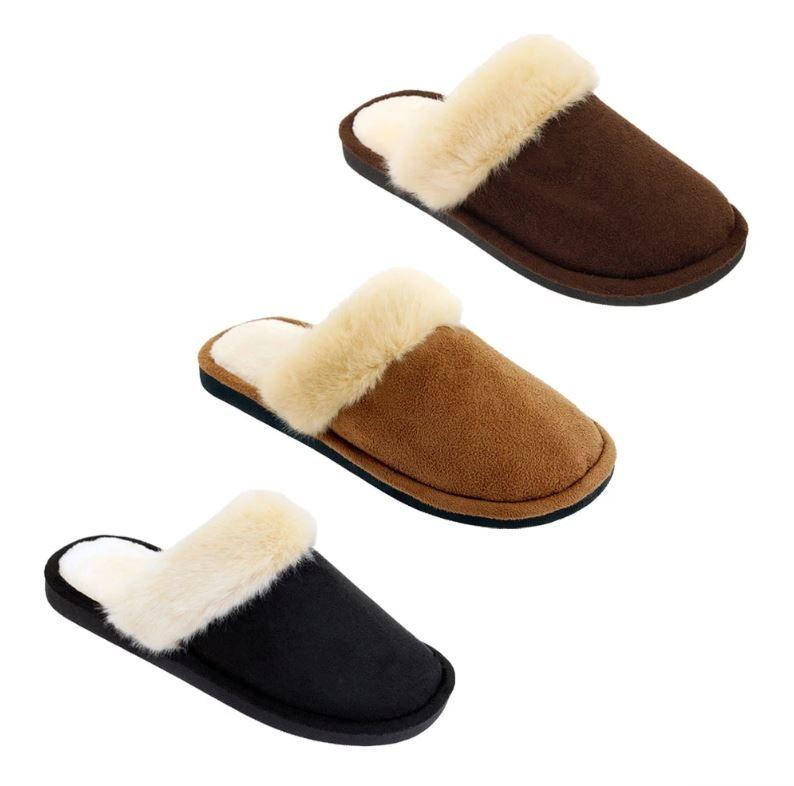 Wholesale Footwear Women's Fluffy Plush Winter Slippers