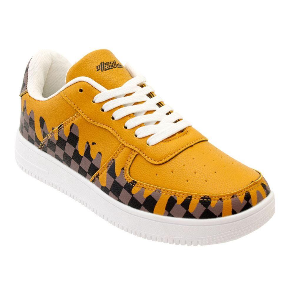 Wholesale Footwear Men's Brown Checkered Drip Casual Sneakers